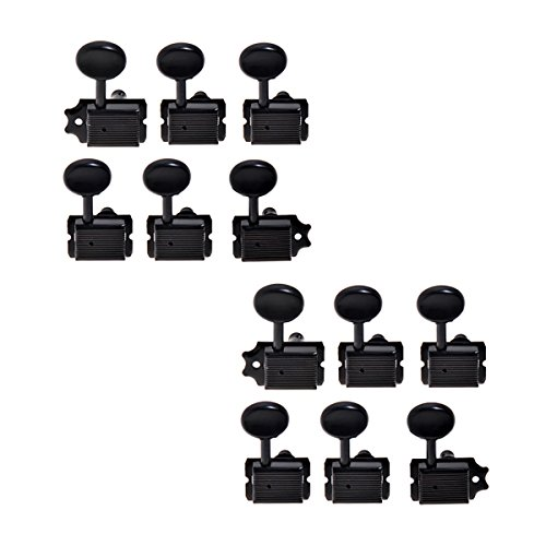 Kmise A7954 Semi Closed Electric Guitar Tuning Pegs Machine Heads for Fender Strat Guitar, 12 Piece, Black
