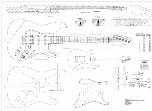 strat neck template - full scale plans for the fender stratocaster deluxe hss