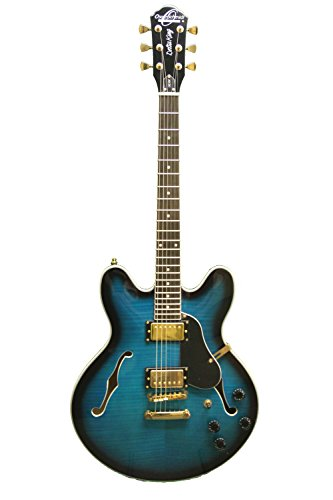 Oscar Schmidt OE30 Delta Blues Semi Hollow Electric Guitar, BlueBurst, OE30FBLB