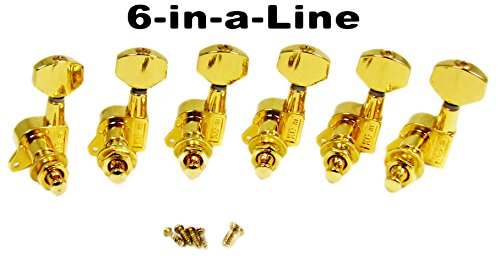 Gold Electric Guitar Tuners/Machine Heads – 6pc. In-line Right for Standard Telecaster(tm) Configuration
